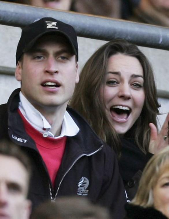 William e Kate assistindo jogo de Rugby, nos primeiros anos do namoro