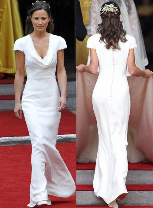 Pippa Midleton, irmã da noiva, e seu look branco (também assinado por Sarah Burton, da McQueen). Tradição britânica